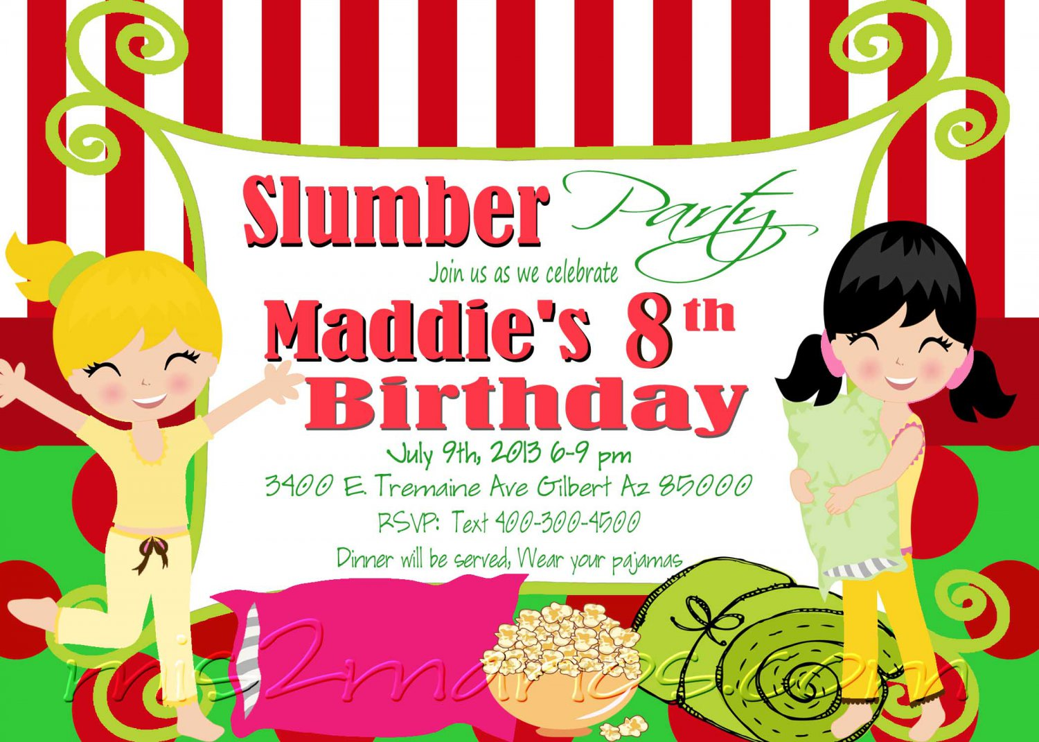 Slumber Party Invitation Sleepover Invite Birthday Party Girls ...