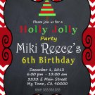 Winter Party Birthday Invitation Chevron Red Chalkboard Offfice Party Printable Christmas Tree
