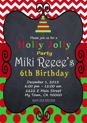 Winter Party Birthday Invitation Chevron Red Chalkboard Offfice Party Printable Christmas Tree