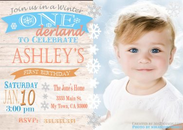 Winter ONEderland birthday invitation party invitations, Rustic winter onederland party