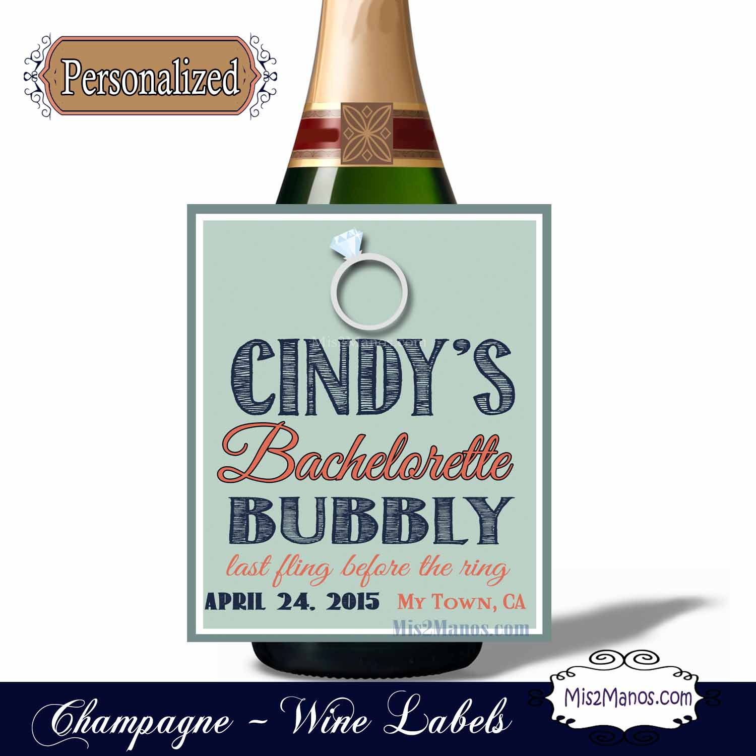 Custom Champagne Labels for Bachelorette Parties, Wine Wedding favor, Anniversary labels