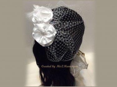 Birdcage Veil, Bridal Fasinator, Wedding Flower Headpiece, Russian Veil, Wide Net Veil,