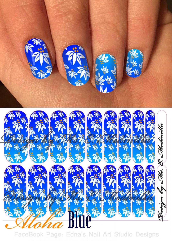 Jamberry Nail Wraps Tropical Blue Flowers Desig CUSTOM NAS