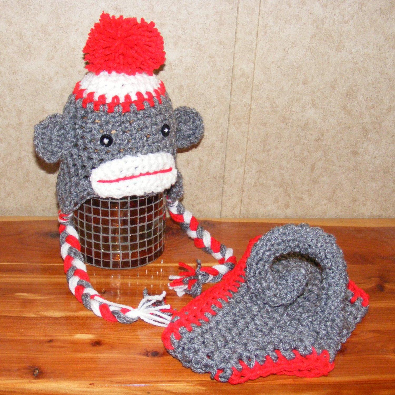 Newborn Sock Monkey hat anddiaper cover set photo props photography
