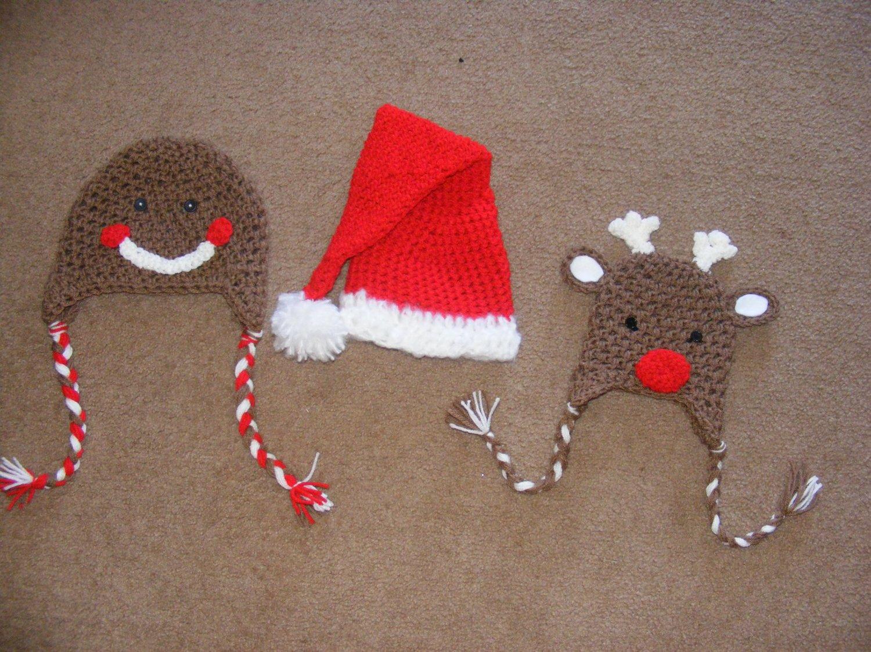 Newborn christmas santa claus , reindeer , gingerbread man hat photo props