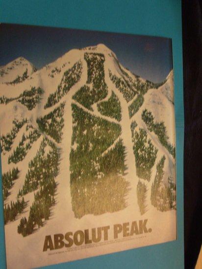 1992 Absolut Vodka Snowy Mountain Print Ad