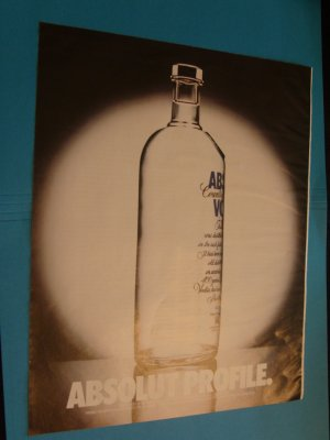 1992 Absolut Profile Ad Advertisement