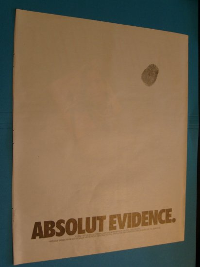 Absolut Vodka Absolute Evidence Print Ad