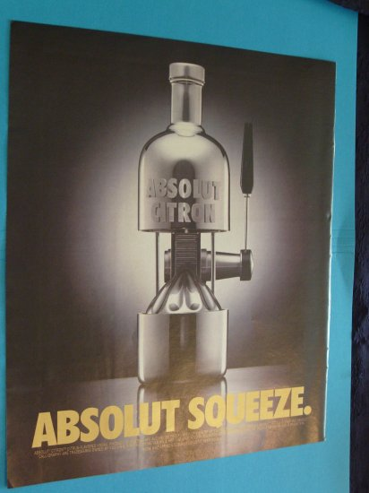 Absolut Squeeze Vodka Juicer  Print Ad 1994