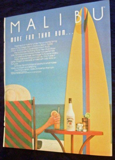 Malibu More Fun Than Rum Surfing Print Ad