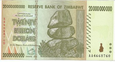 P86 Zimbabwe 20 Billion Dollars 2008 GUNC