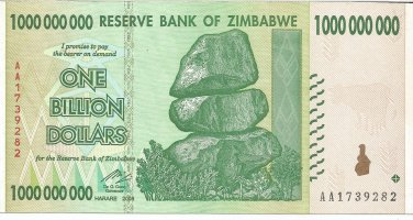 P83 Zimbabwe 1 Billion Dollars 2008 AU
