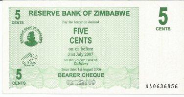 P34 Zimbabwe 5 Cents 2006 UNC
