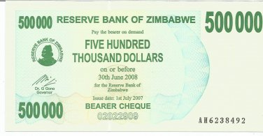 P51 Zimbabwe 500,000 Dollars Emergency Bearer Cheque 2007 GUNC