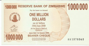 P53 Zimbabwe 1,000,000 Dollars Emergency Bearer Cheque 2008 GUNC