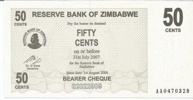 P36 Zimbabwe 50 Cents 2006 UNC