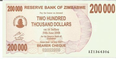 P49 Zimbabwe 200,000 Dollars Emergency Bearer Cheque 2007 UNC