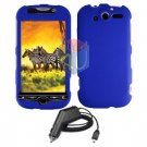 For HTC T-Mobile Mytouch 4g Car Charger +Cover Hard Case Blue