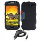For HTC MyTouch 4G / Panache 4G Car Charger +Cover Hard Case Black