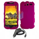 For HTC MyTouch 4G / Panache 4G Car Charger +Cover Hard Case rose Pink