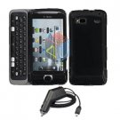 For HTC T-Mobile G2 Car Charger + Cover Hard Case Black