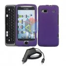 For HTC T-Mobile G2 Car Charger + Cover Hard Case Purple