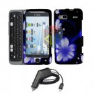 For HTC Desire Z Car Charger + Cover Hard Case B-Flower
