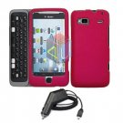 For HTC Desire Z Car Charger + Cover Hard Case Rose Pink