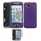 For HTC Desire Z Protector Screen + Cover Hard Case Purple