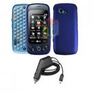For LG Neon 2 GW370 Car Charger + Cover Hard Case blue