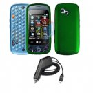 For LG Rumour Plus gw-370 Car Charger +Cover Hard Case Green