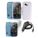 For LG Rumour Plus Car Charger + Hard Case White +Screen