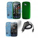 For LG Rumour Plus Charger Car + Hard Case Green +Screen