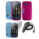 For LG Rumour Plus Car Charger + Hard Case R-Pink +Screen