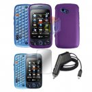 For LG Rumour Plus Car Charger + Hard Case Purple +Screen