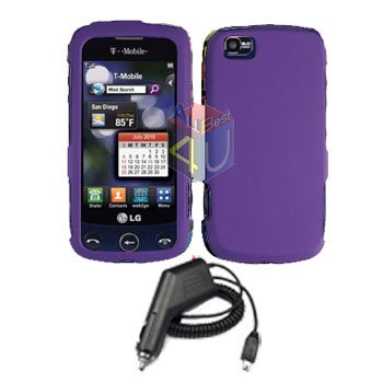 For LG Cookie Plus GS500 Car Charger +Cover Hard Case Purple