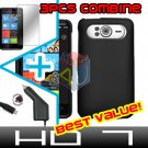 FOR HTC HD7 HD 7 Car Charger + Hard Case Black + Screen 3-in-1