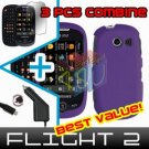 For Samsung Flight II 2 a927 Car Charger +Hard Case Rubberized Purple +Screen