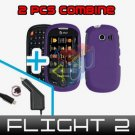 For Samsung Flight II 2 a927 Car Charger +Hard Case Rubberized Purple