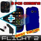 For Samsung Flight II 2 a927 Car Charger +Hard Case Rubberized Blue +Screen