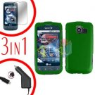 For LG Optimus-S / LS670 Screen +Car Charger +Hard Case Rubberized Green 3-in-1