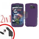 For LG Optimus-S / LS670 Car Charger +Cover Hard Case Rubberized Purple 2-in-1