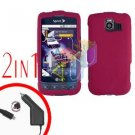 For LG Optimus-S / LS670 Car Charger +Cover Hard Case Rubberized Rose Pink 2-in-1