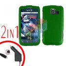 For LG Optimus-S / LS670 Car Charger +Cover Hard Case Rubberized Green 2-in-1