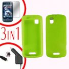 For Motorola Droid Pro A957 Screen +Car Charger +Silcon Skin Neon Case 3-in-1
