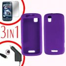For Motorola Droid Pro A957 Screen +Car Charger +Silcon Skin Purple Case 3-in-1