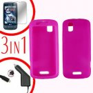 For Motorola Droid Pro A957 Screen +Car Charger +Silcon Skin Hot Pink Case 3-in-1