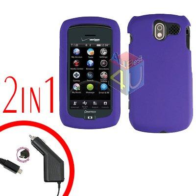 For Pantech Crux / CDM8999 Car Charger +Hard Case Rubberized Purple 2-in-1