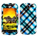 For HTC MyTouch 4G / Panache 4G Protector Screen + Cover Hard Case Plaid