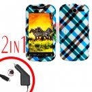 For HTC T-Mobile Mytouch 4g Car Charger +Cover Hard Case Plaid